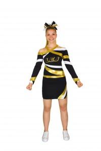 cheer cheerleader uniform metallic gold