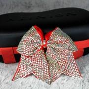 Rote Cheerleading Glitzer Haarschleife